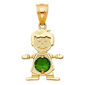 14kY Gold May Birthstone CZ Boy Pendant